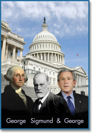 George Washington, Sigmund Freud and George Bush in front of the US Capitol Building